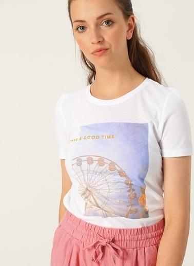 Only Only Baskılı Yazılı Beyaz T-Shirt Beyaz